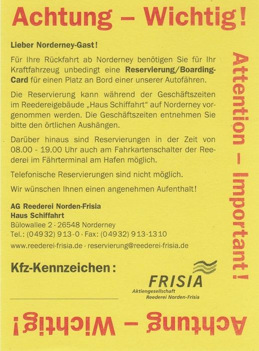 Reservierung Frisia Fähre