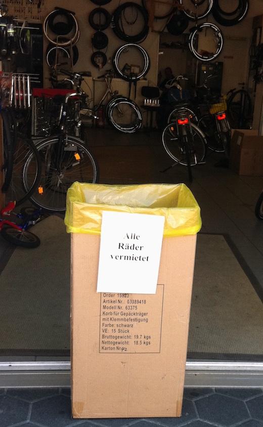 Fahrradverleih ausverkauft