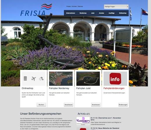Frisia Fährterminal Neue Website der Frisia
