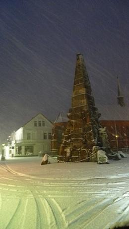 Norderney Denkmal im Schnee