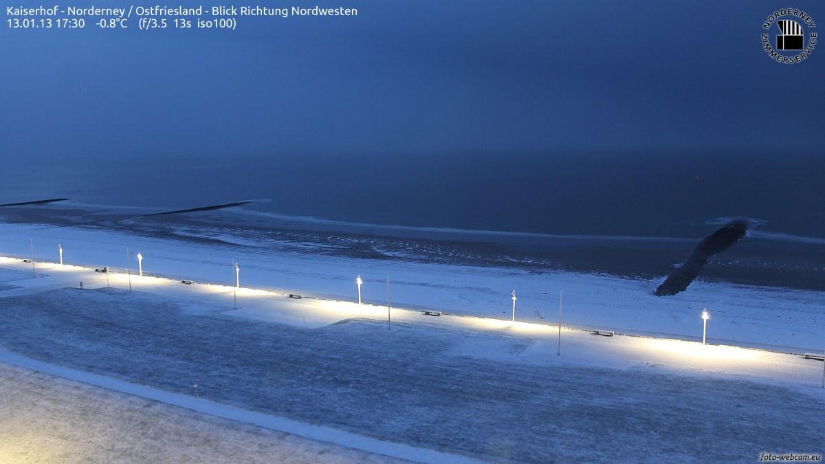 Norderney Schnee am Abend