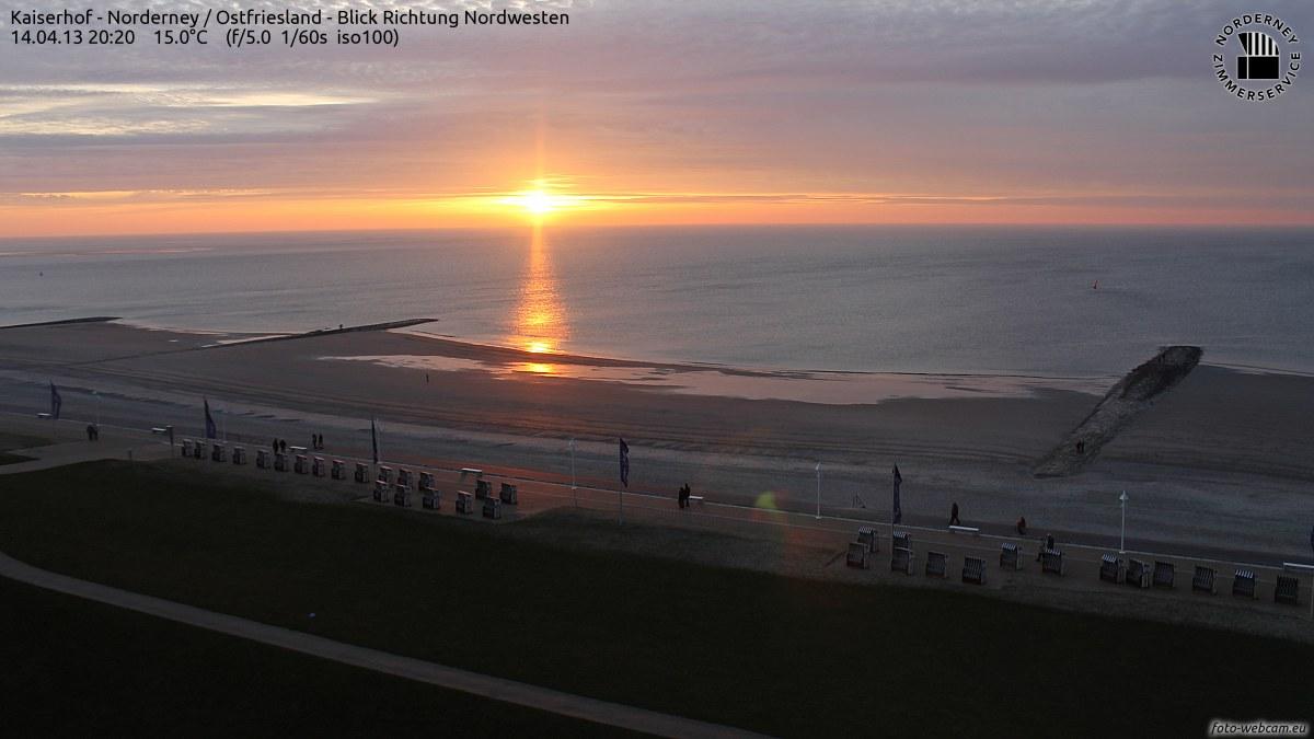 Norderney Sonnenuntergang mit 15° Celsius