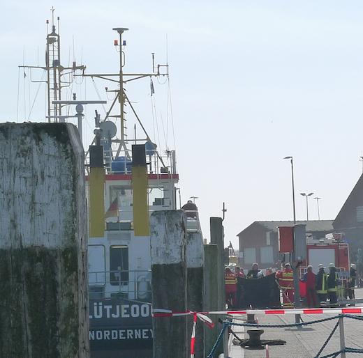 Retttungskräfte im Hafen
