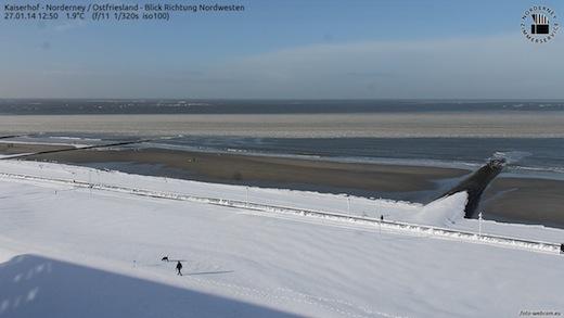 Im Winter 2013/2014 selten: Norderney mit Schnee
