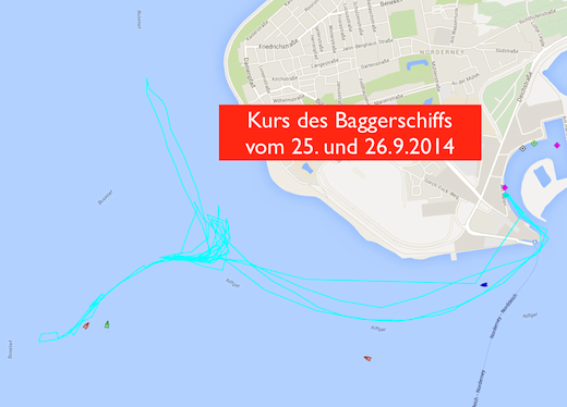Norderney Kurs des Baggerschiffs