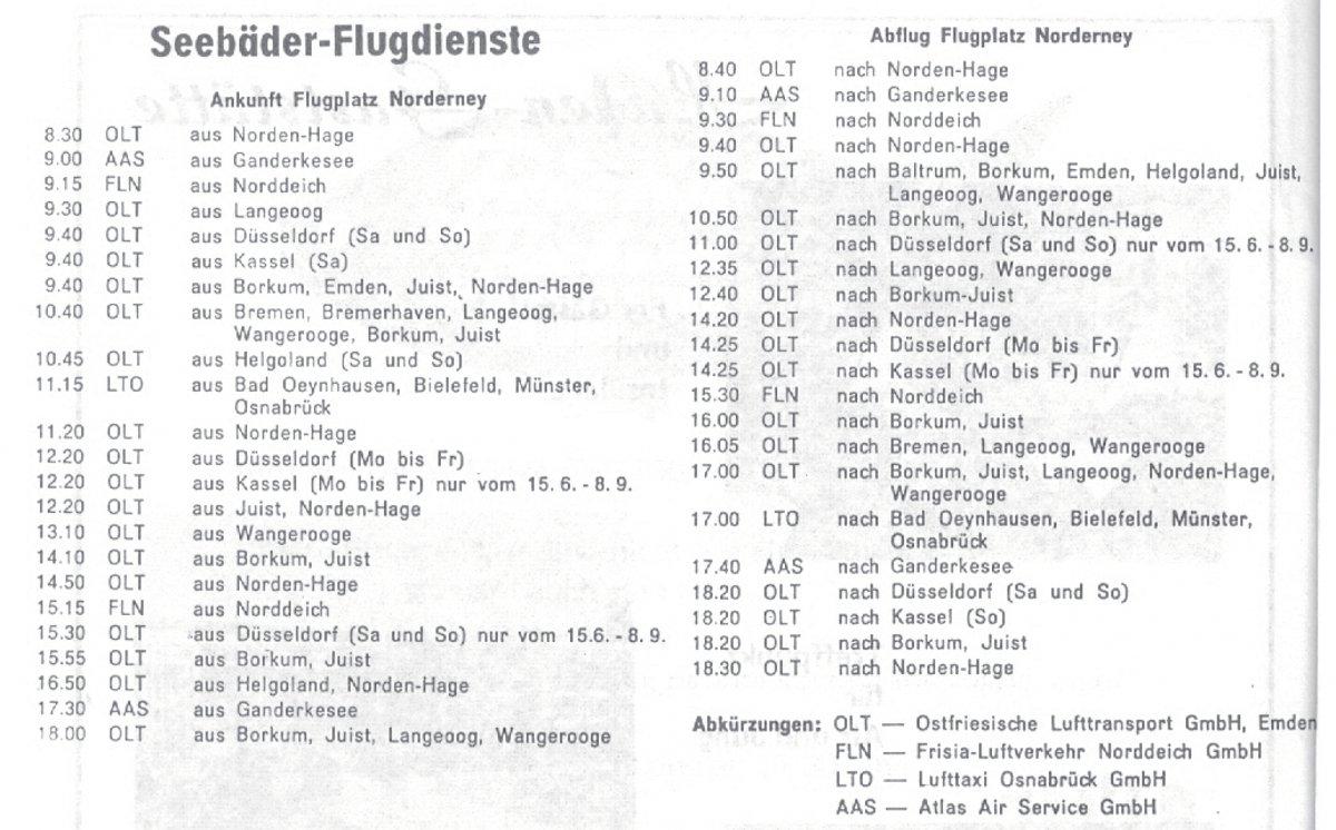 flugplan norderney 1974