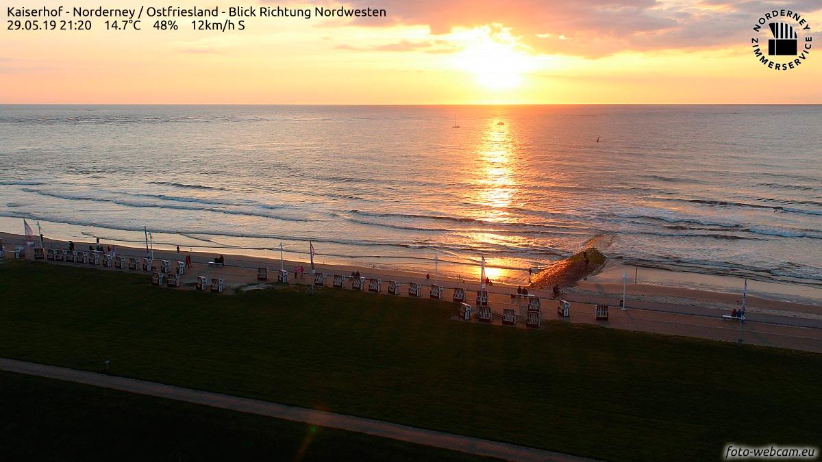 Sonnenuntergang über der Nordsee am 29. Mai 2019: Im Vordergrund die Strandpromenade von Norderney mit Strandkörben und Fahnen und Menschen