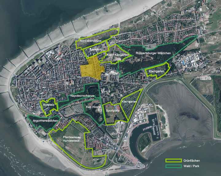 Projekt mit Norderney von oben