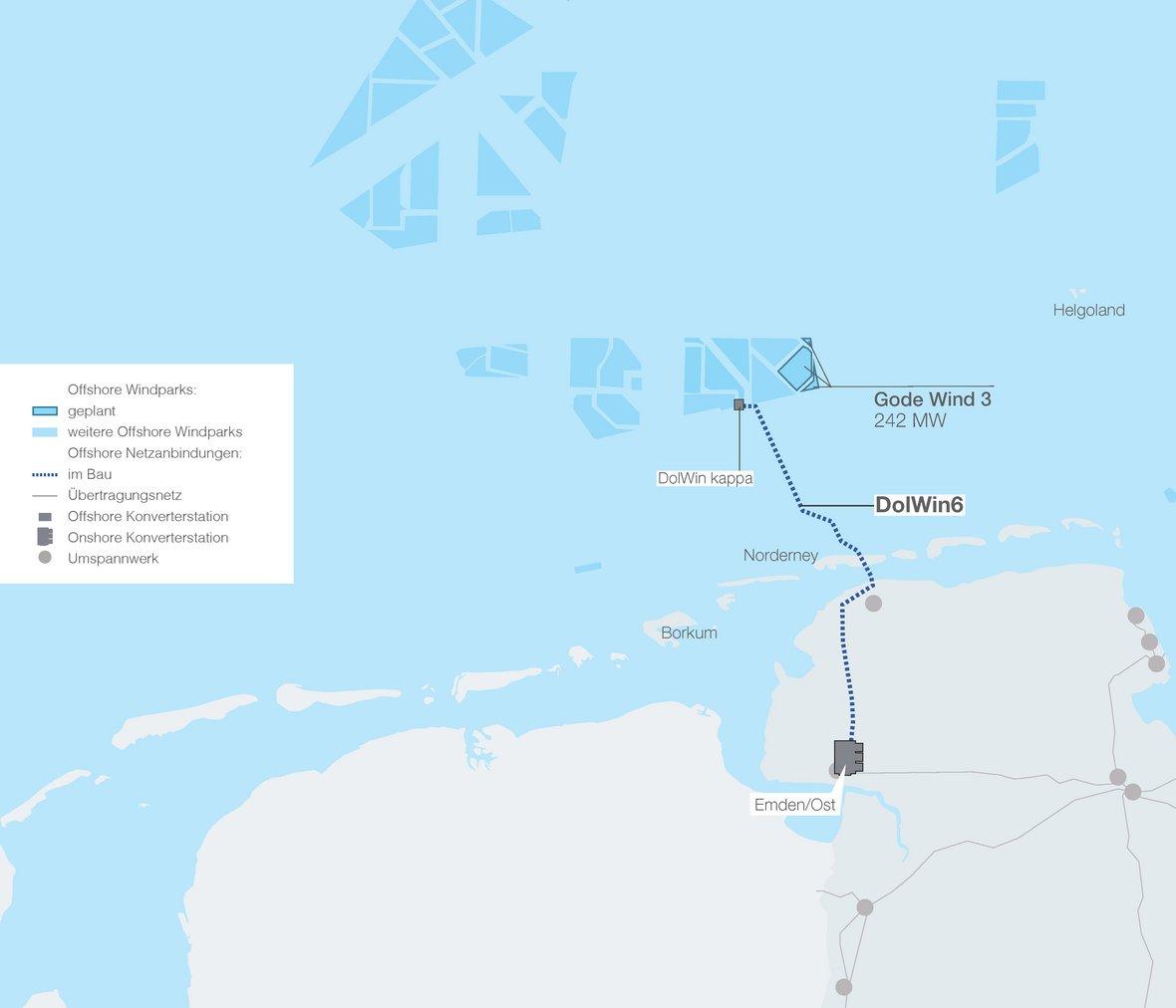 Verlauf der Offshore-Trasse